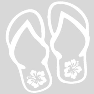 Flip Flops with Hibiscus Decal White
