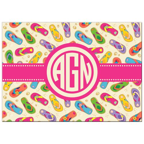 Flip Flop Monogram Glass Cutting Board