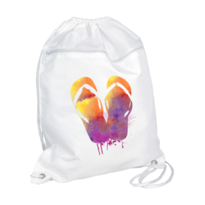 Watercolor Flip Flops Drawstring Backpack with Zipper Pocket