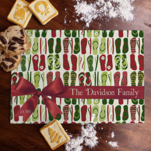 Personalized Family Name Holiday Flip Flops Glass Cutting Board