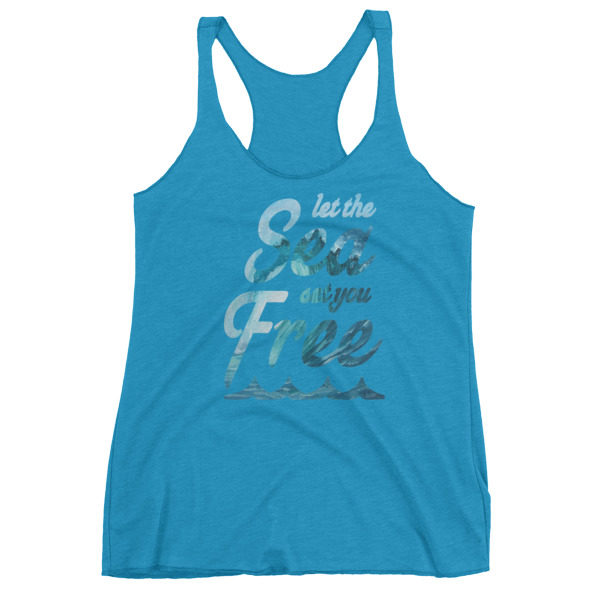 Let The Sea Set You Free Tank Top Vintage Turquoise