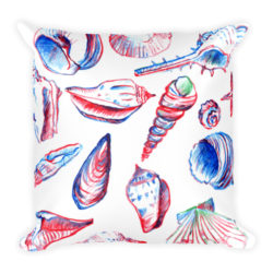 All Over Sea Shells Square Pillow