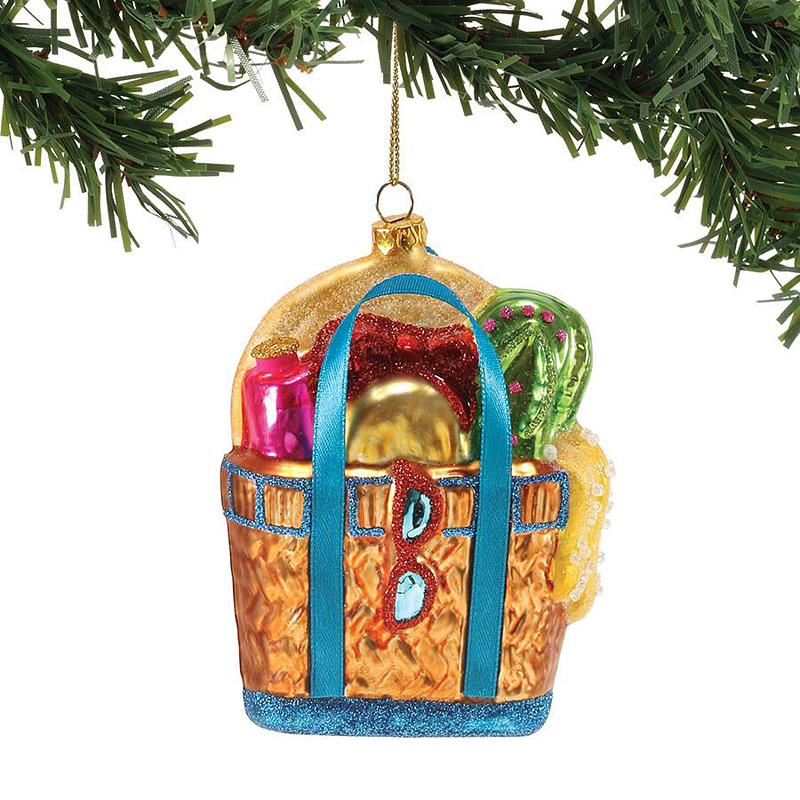 Beach Bag Blown Glass Ornament