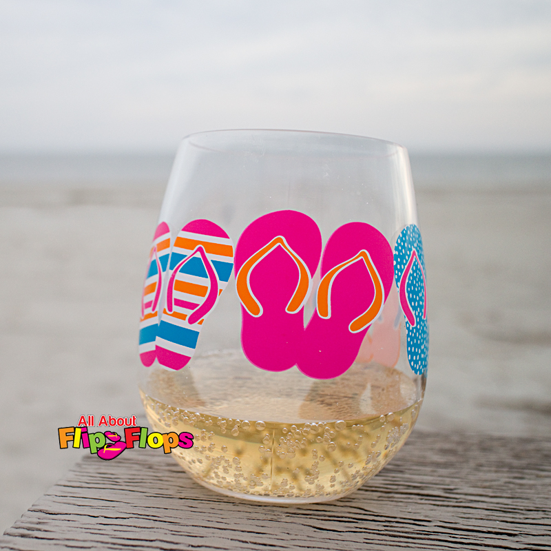 Flip Flop Acrylic Stemless Wine Glass