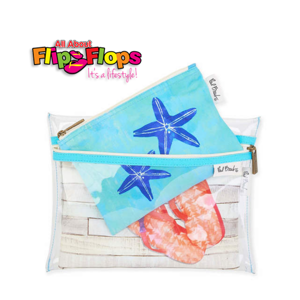 Flip Flops Cosmetic Bag Set of 3 - Turquoise Starfish