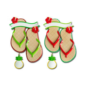 Hibiscus & Pineapple Flip Flops Ornament