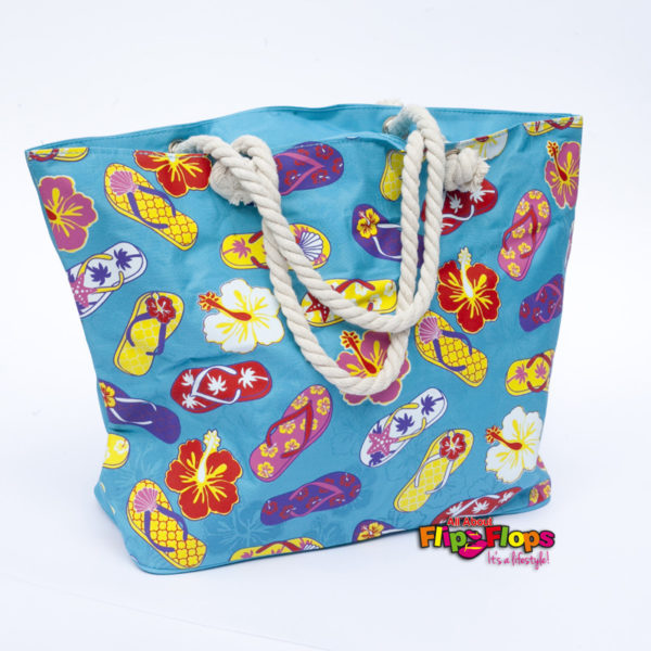 Tropical Flip Flops Beach Tote Bag Blue Front