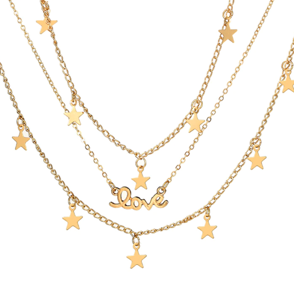 Boho Love and Stars Pendant Necklace