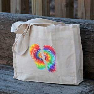 Tie Dye Flip Flops Canvas Tote Bag