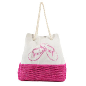 Weaved Bottom Canvas Flip Flops Tote Bag