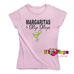 Margaritas and Flip Flops Short Sleeve Crew Neck T-Shirt Pink