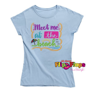 Meet Me at the Beach Short Sleeve Crew Neck T-shirt Blue