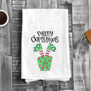 Merry Christmas Elves Legs Kitchen Towel