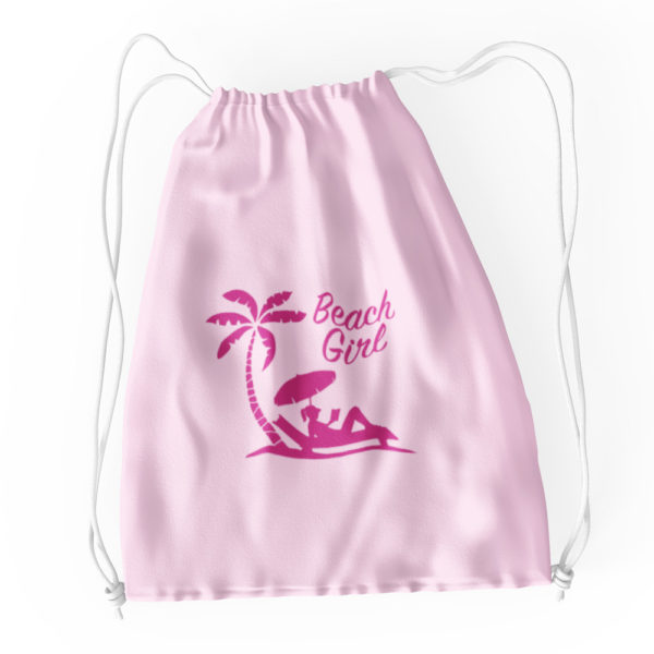 Beach Girl Cotton Drawstring Tote Pink