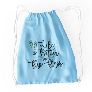 Life is Better in Flip Flops Waves Cotton Drawstring Tote Blue