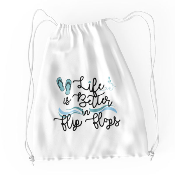Life is Better in Flip Flops Waves Cotton Drawstring Tote White