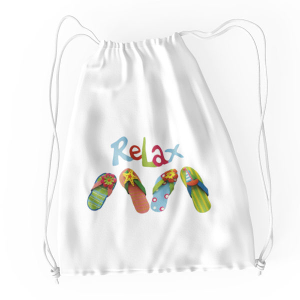 Relax and Flip Flops Cotton Drawstring Tote White