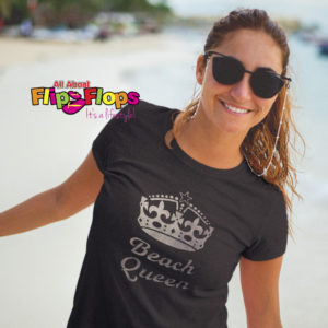 Beach Queen Silver Metallic Short Sleeve Crew Neck T-shirt
