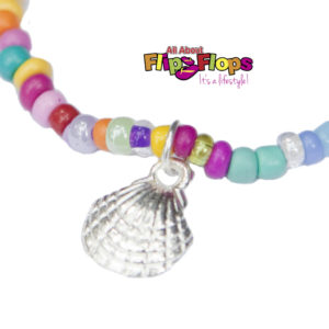Beaded Bohemian Silver Shell Charm Anklet